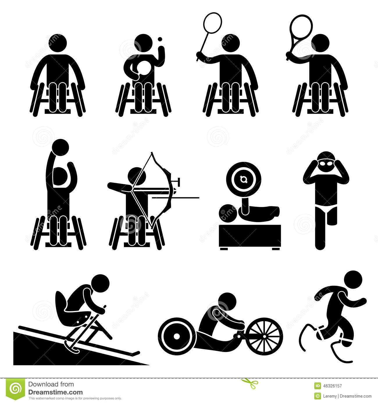 Disable Handicap Sport Paralympic Games Cliparts Icons