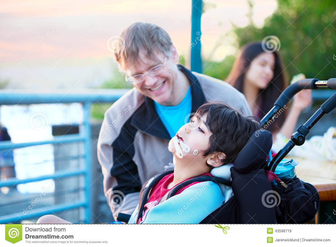 Special needs children with friends stock illustration