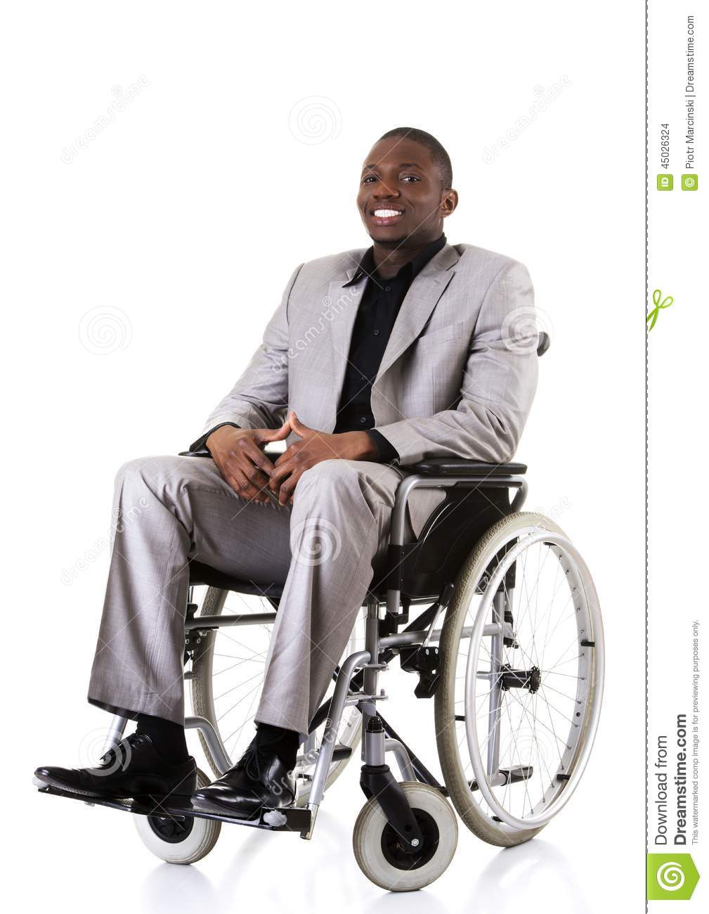 disabled businessman sitting on wheelchair stock photo image 45026324. Black Bedroom Furniture Sets. Home Design Ideas