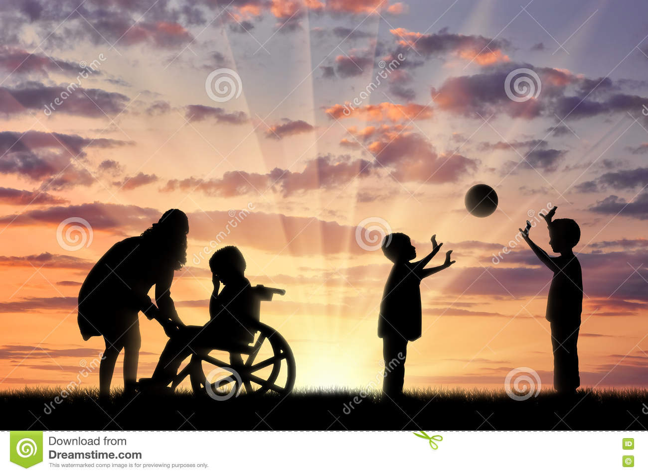 Disabled child in wheelchair crying and his mother near children play with ball