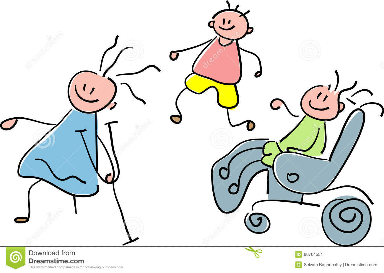 disabled children stock vector image 90704551
