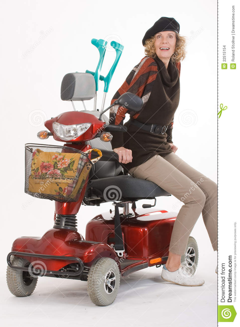 disabled elderly woman with scooter stock images image