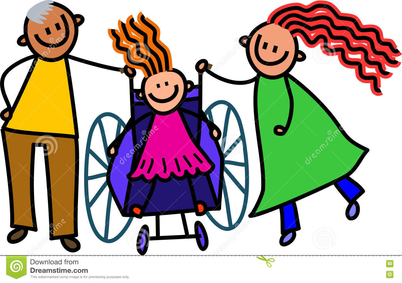 Disabled Girl And Parents Stock Illustration - Image: 73701856