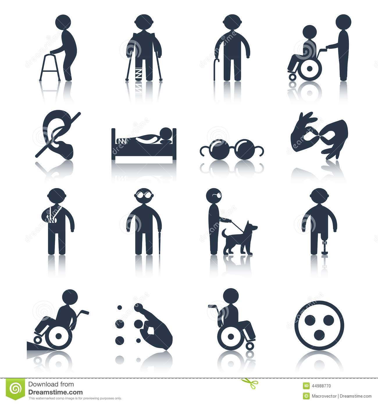 Disabled Icons Set Black Stock Vector Image 44988770