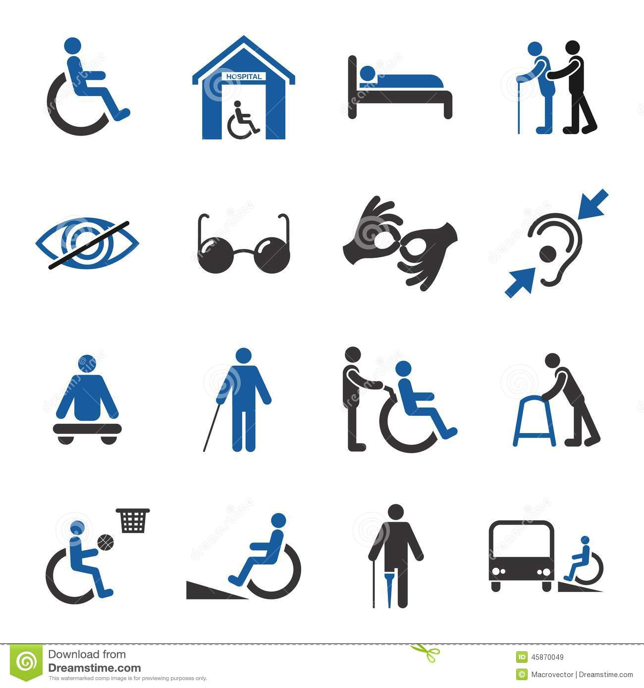 disabled people care help assistance and accessibility icons set