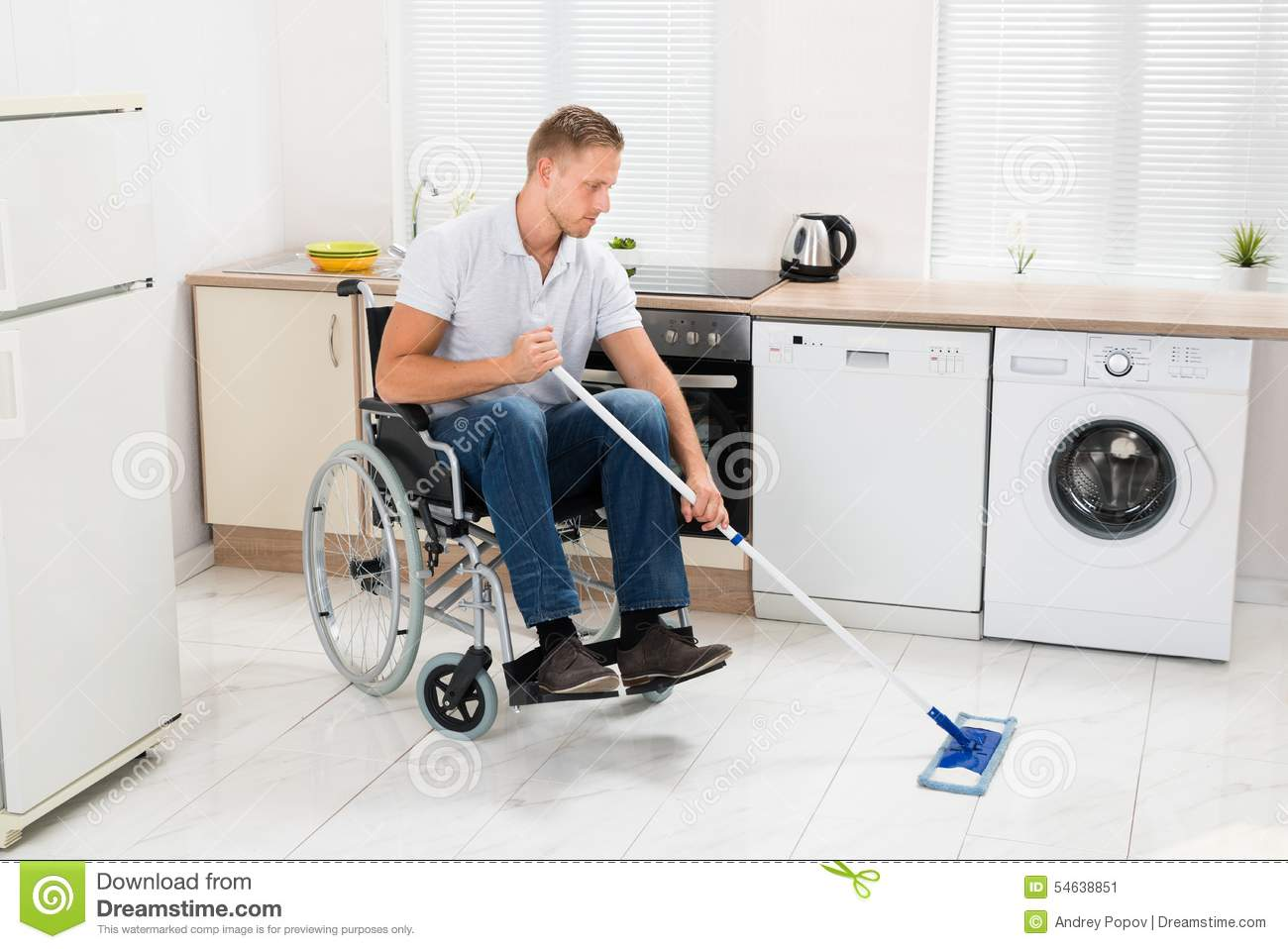 Kitchen Floor Mop Disabled Man On Wheelchair Cleaning Floor Stock Photo Image