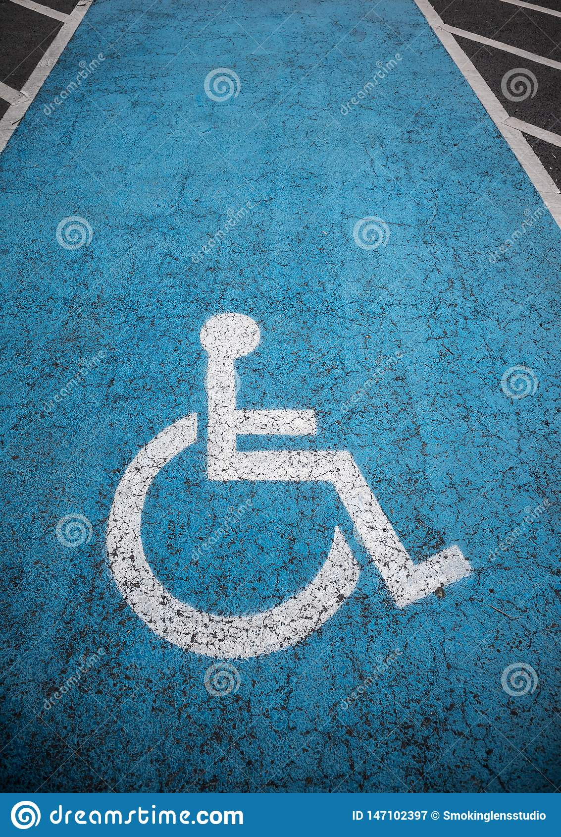 Disabled parking lot outdoors