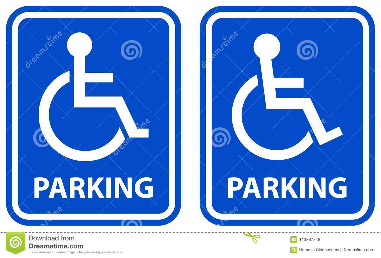 - Disabled Parking Sign Blue Color Icons Stock Vector - Illustration