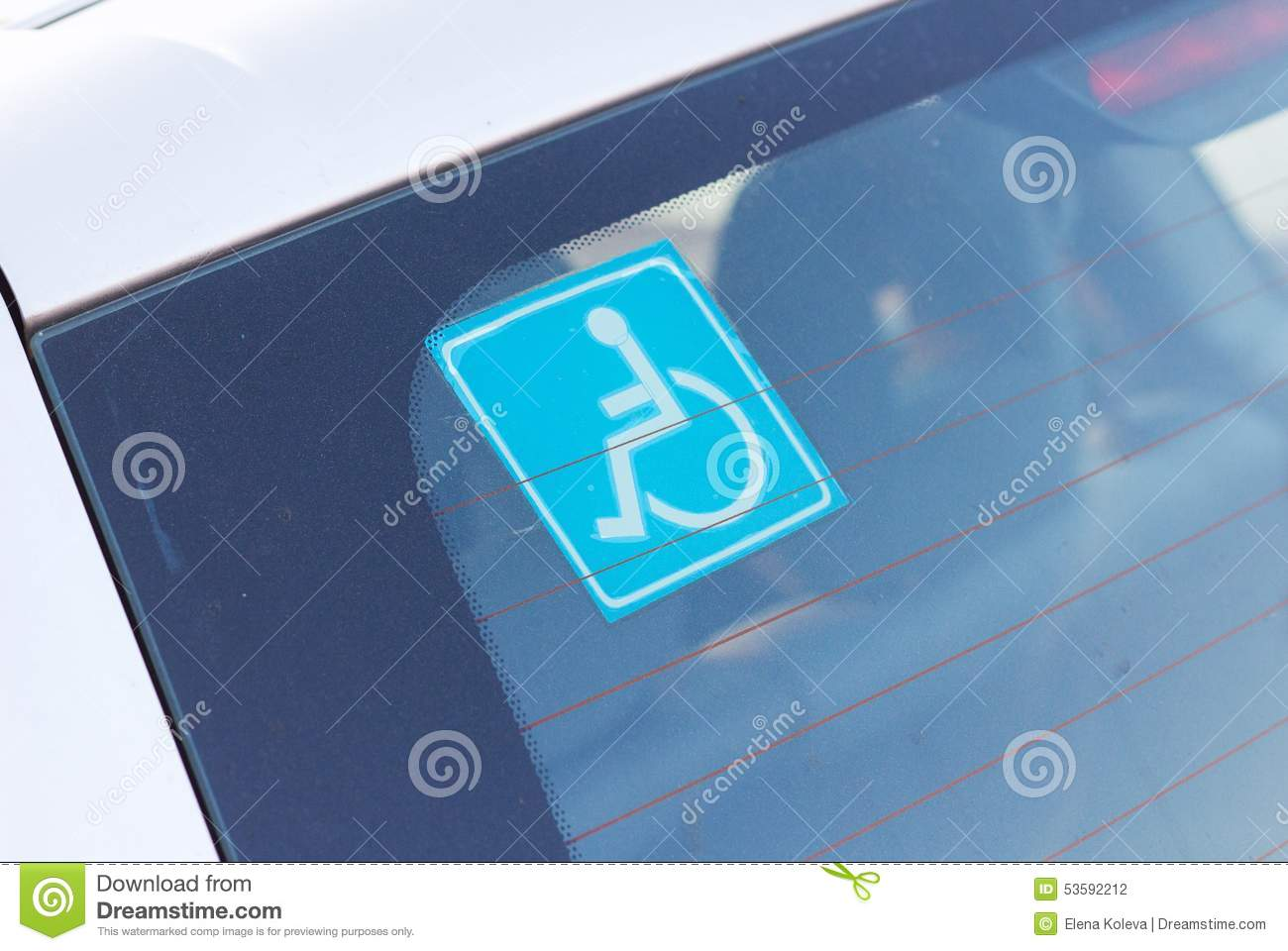 Car Shield Prices >> Disabled Parking Sticker On Car Stock Photo - Image: 53592212
