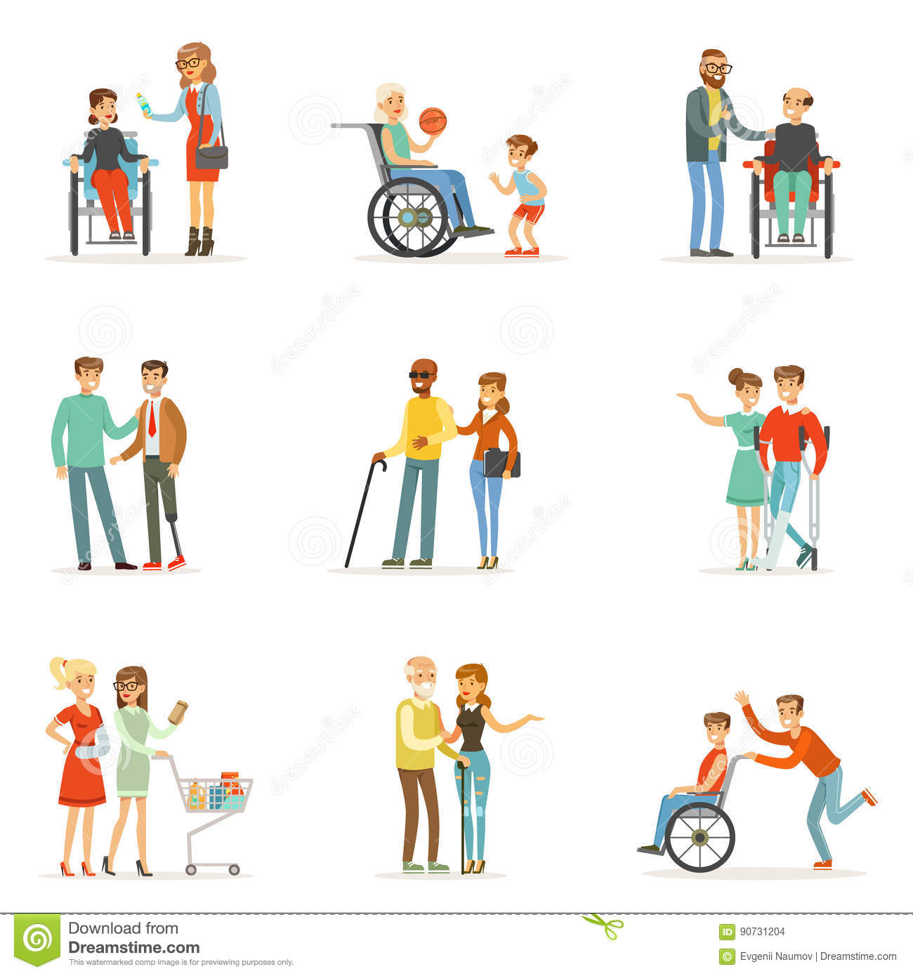 Disabled People And Friends Helping Them Set For Label