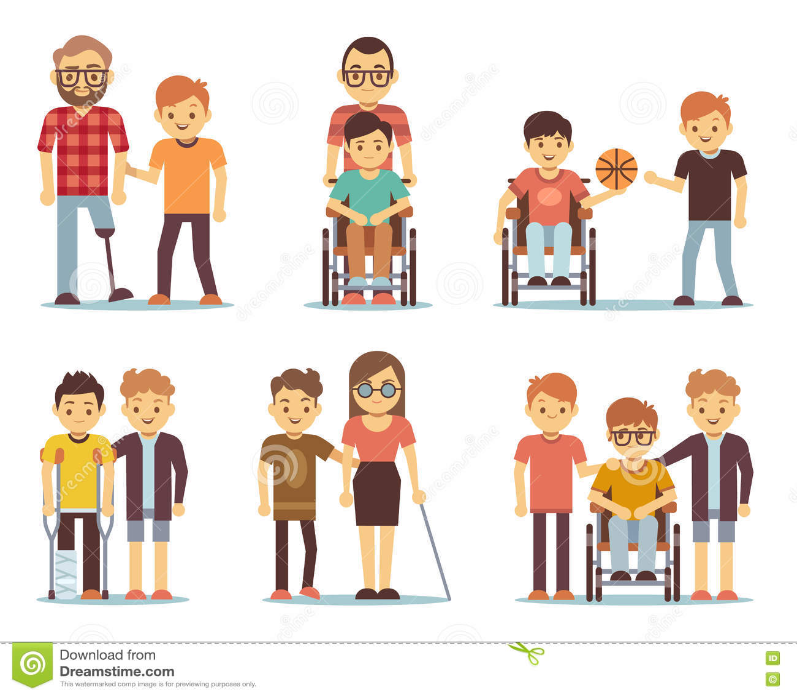 Disabled People Care Set Cartoon Vector Cartoondealer