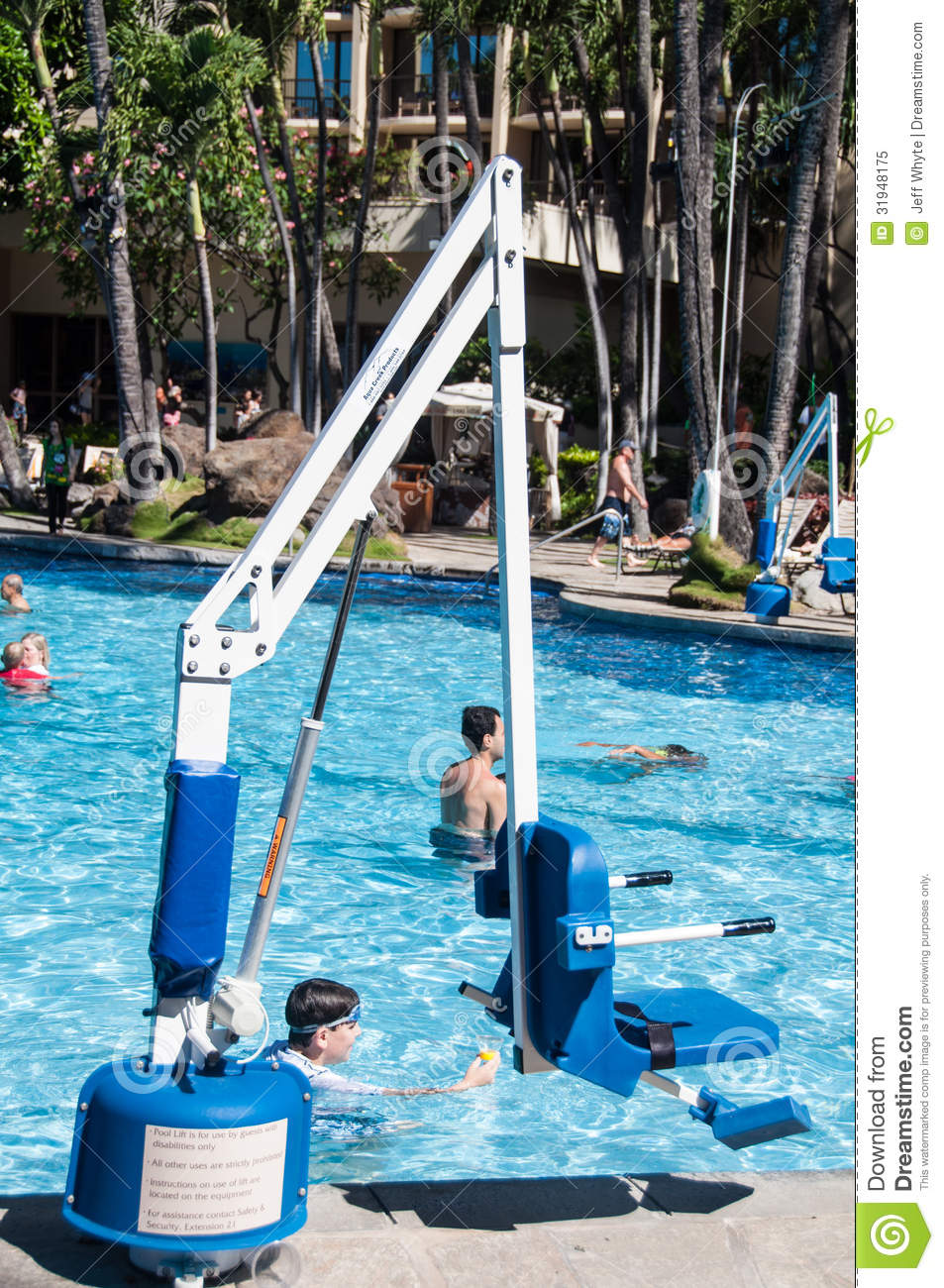 Disabled Person Pool Lift Editorial Image - Image: 31948175