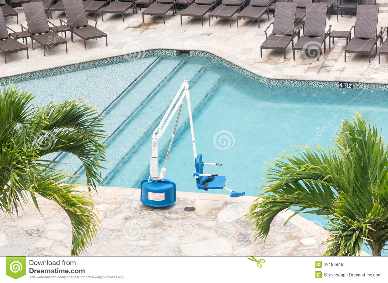 Disabled Person Pool Lift By Swimming Royalty Free Stock