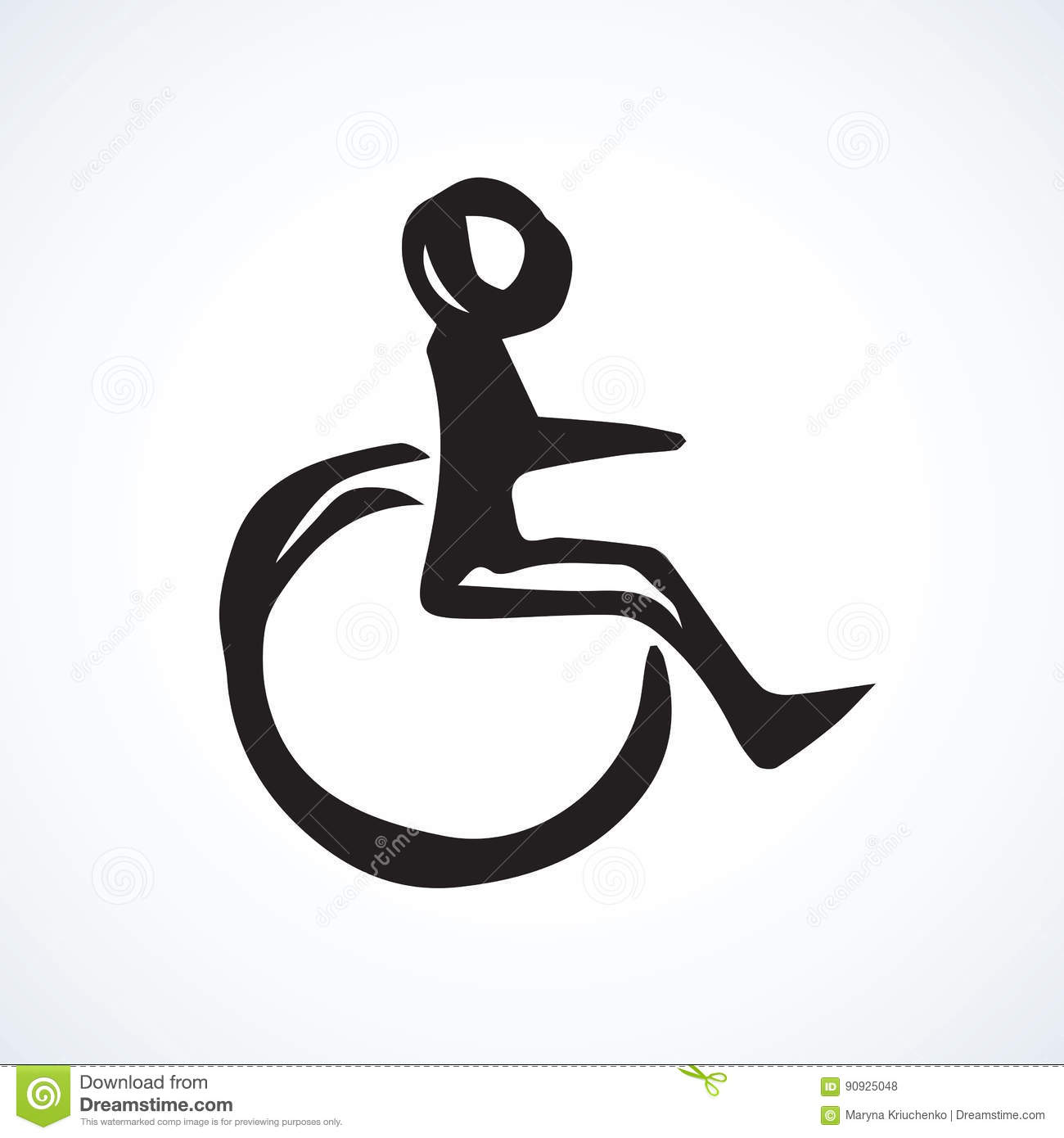 Disabled Person In The Stroller Vector Drawing Illustration