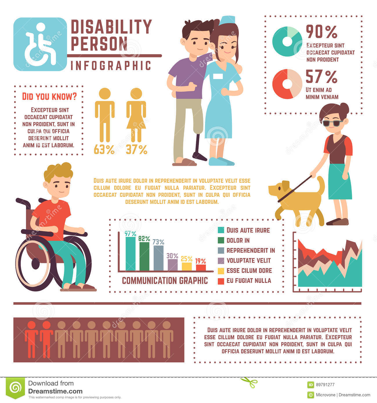 Disabled People Infographic Set Cartoon Vector