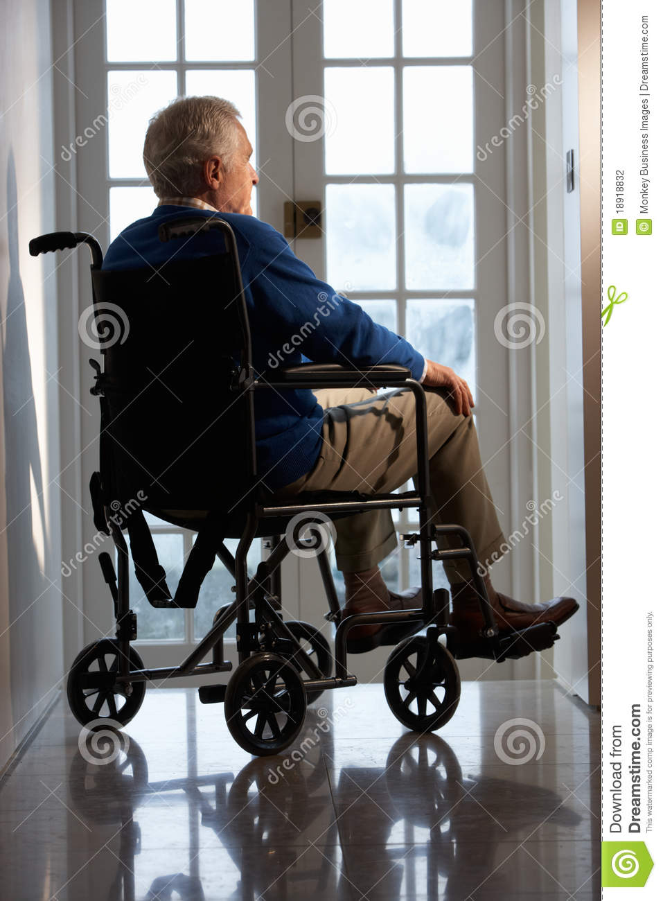 Disabled senior man in wheelchair stock photography image 18918832