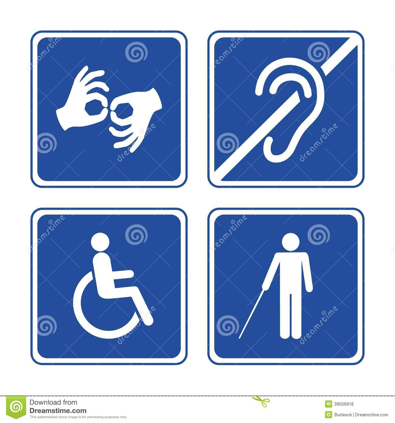 Disabled signs: deaf, blind, mute and wheelchair vector icons.