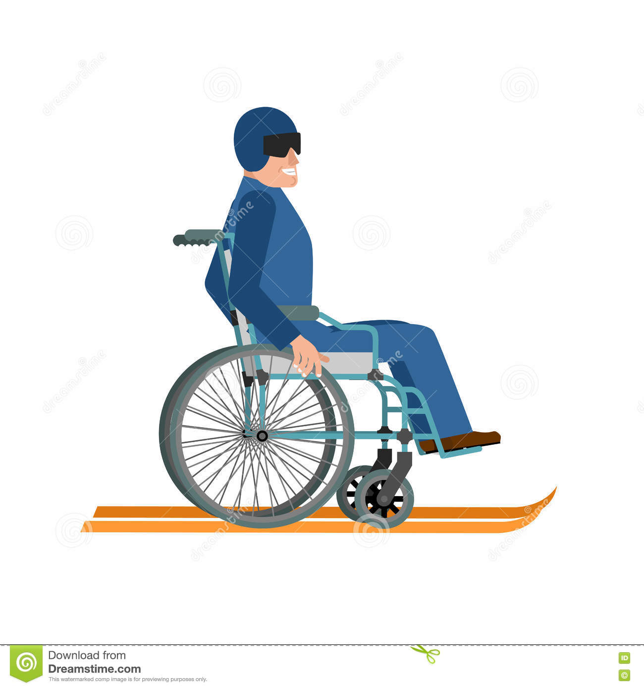 Disabled skiing isolated wheelchair ski running on white for Sedia a rotelle cartoon