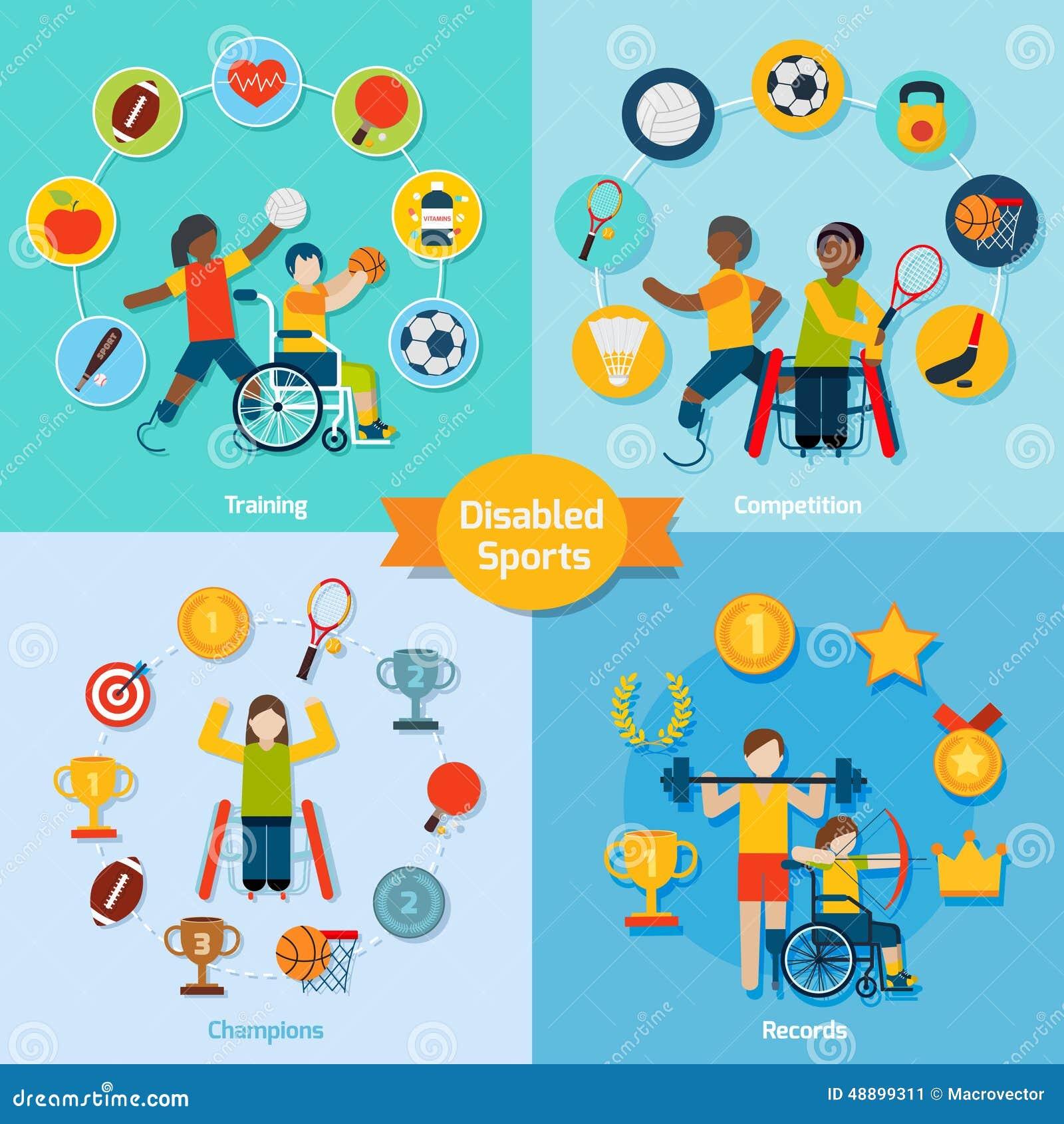 Disabled Handicapped People Flat Icons Set Cartoon Vector | CartoonDealer.com #68494295