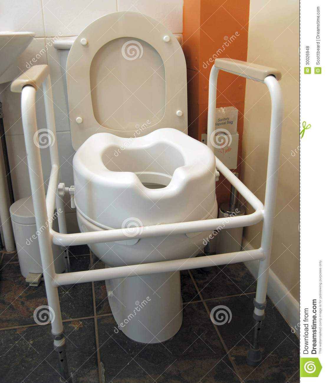 Disabled Toilet With Handles And Raised Seat Stock Photo - Image ...