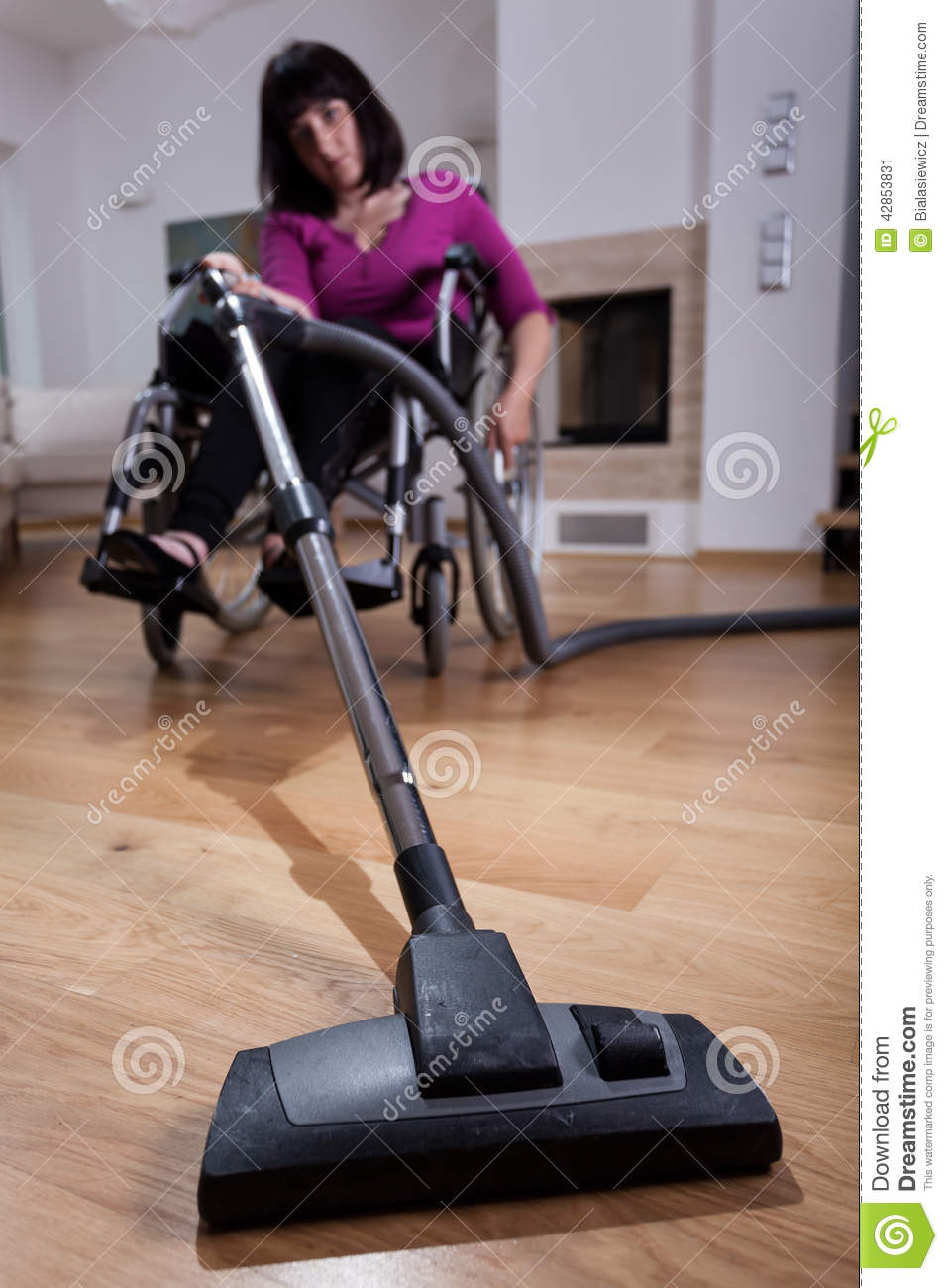 Disabled Woman Using Vacuum Cleaner Stock Photo  Image  ~ Staubsauger Yes