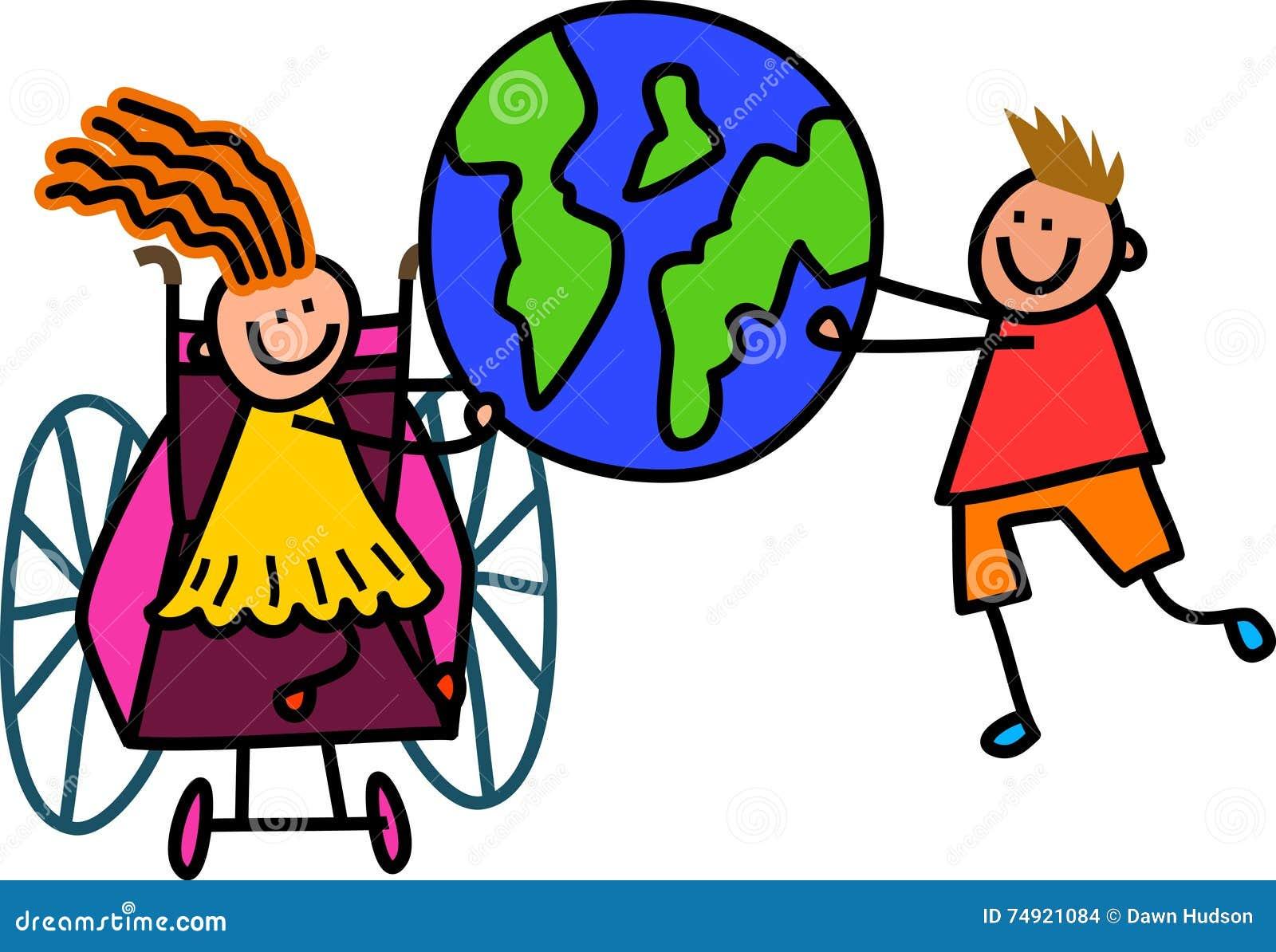 Disabled World Kids Stock Illustration - Image: 74921084