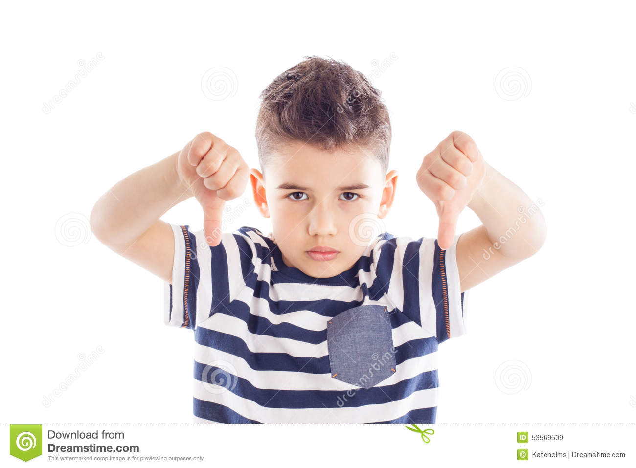 disappointed boy with thumbs down stock photo   image