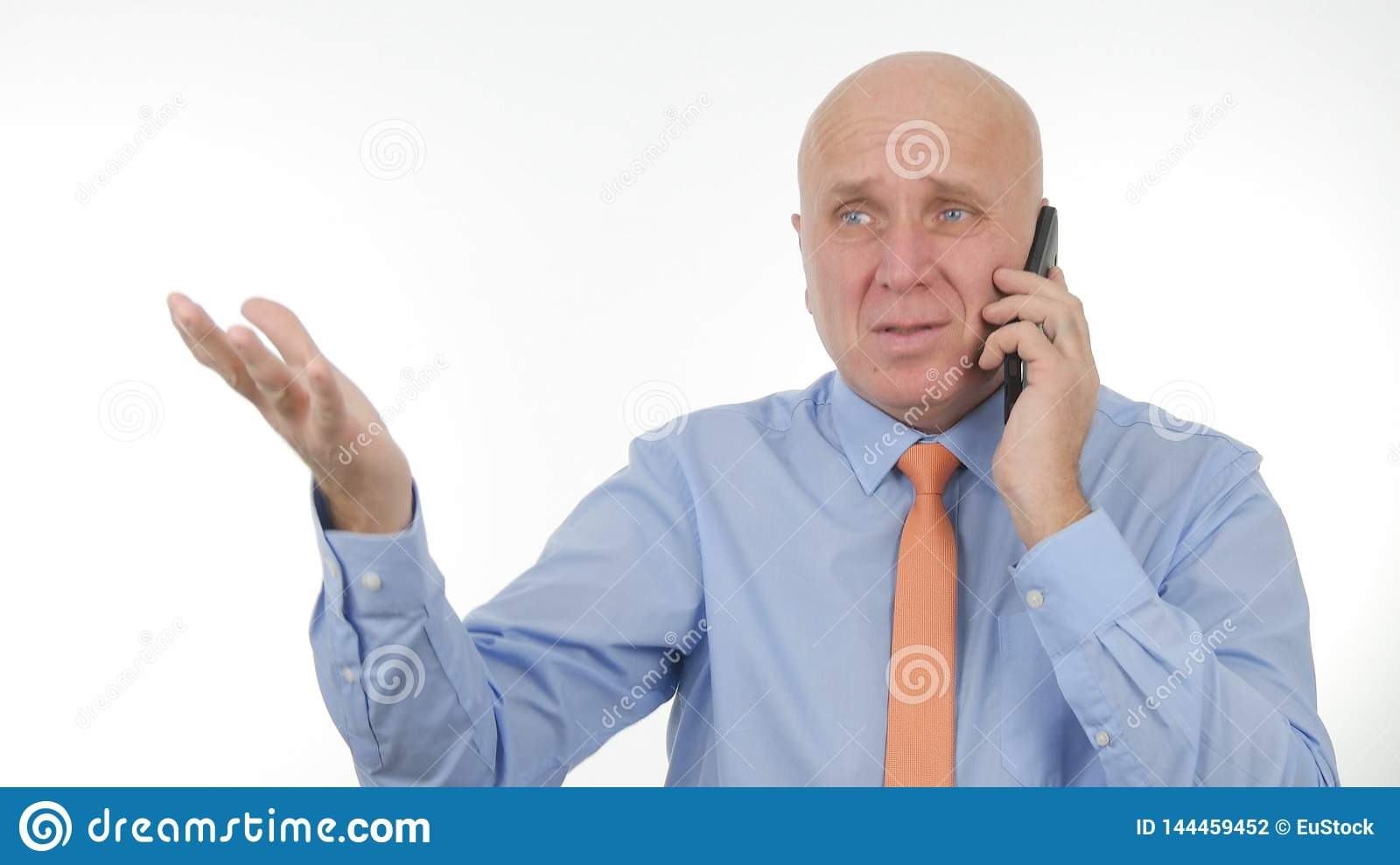 Disappointed Businessman Talk Bad News on Cellphone Make Nervous Hand Gestures