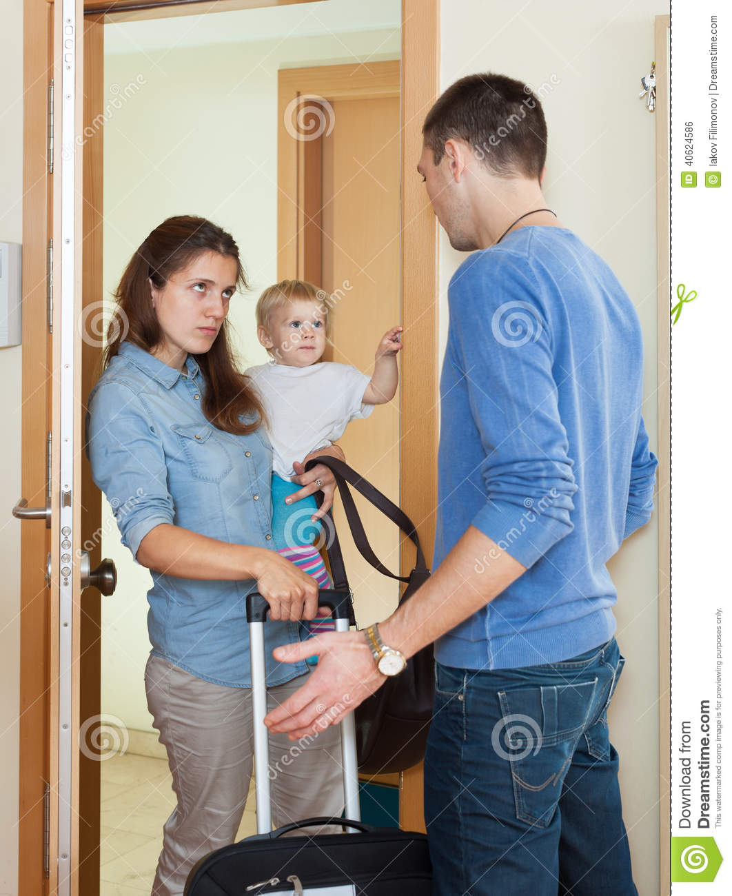 Disappointed Woman Leaving From Husband Stock Photo