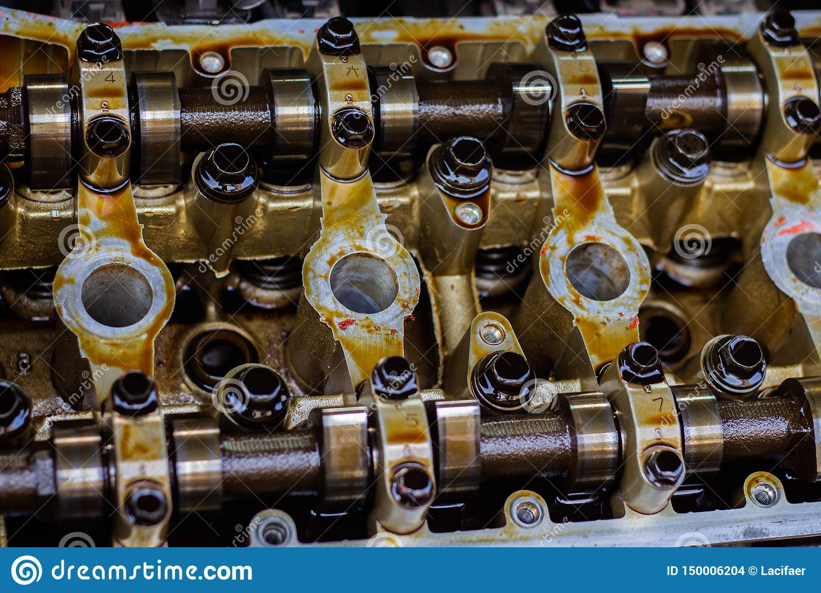 Disassembled Internal Combustion Engine, Close-up Of The