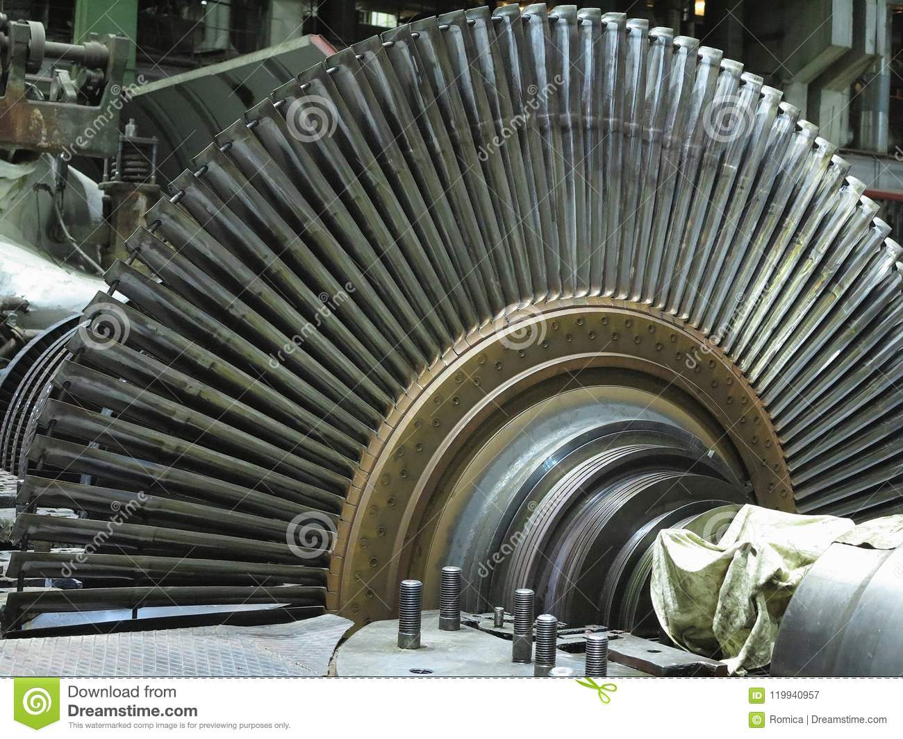 Disassembled Steam Turbine In The Process Of Generator