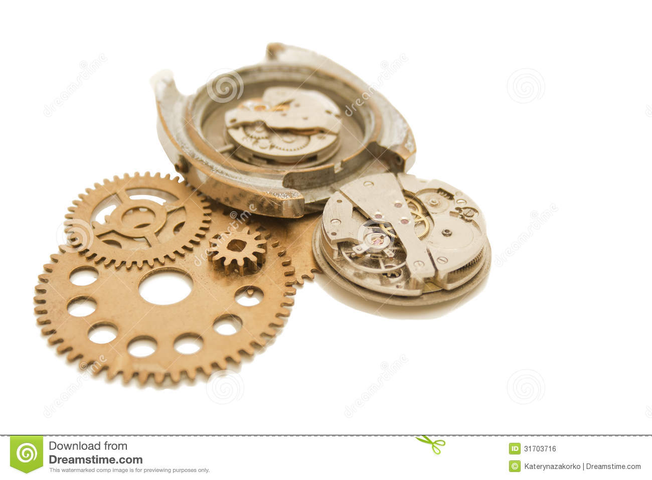 Disassembled wrist watch and gears stock photo image 31703716 for Watches gear