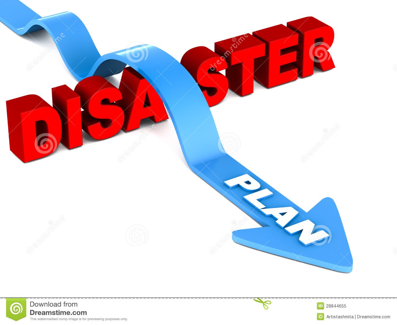 Plan arrow jumping over disaster on white background, disaster word in ...