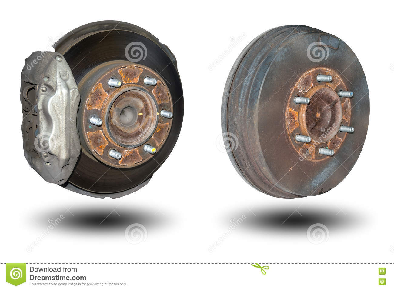 Disc Brakes Front Wheel And Back Drum Brakes Stock Photo