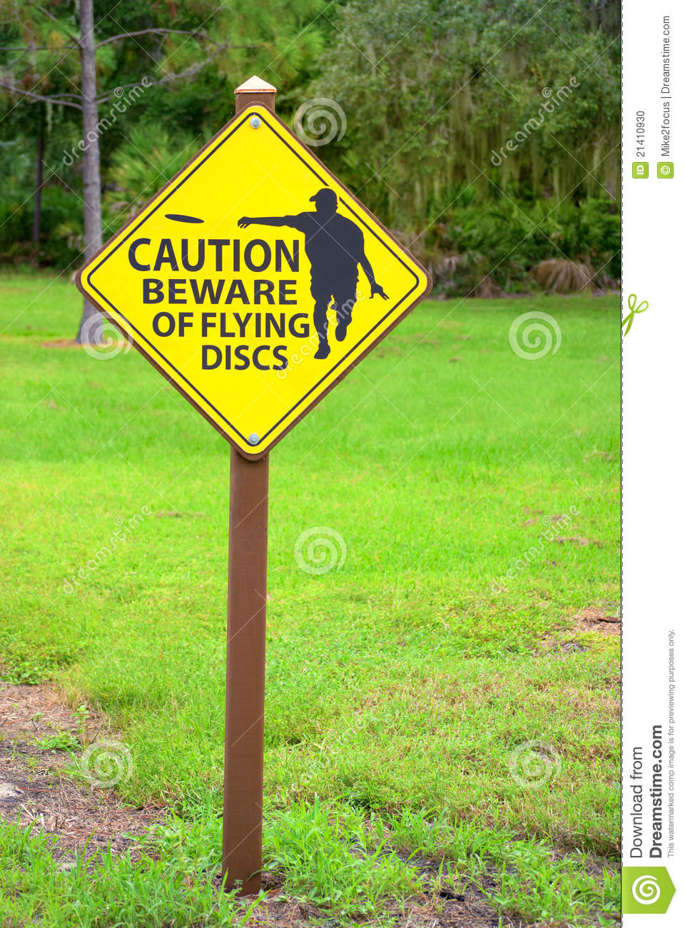 Disc Golf Course Equipment ~ Disc golf flying discs caution sign stock photo image