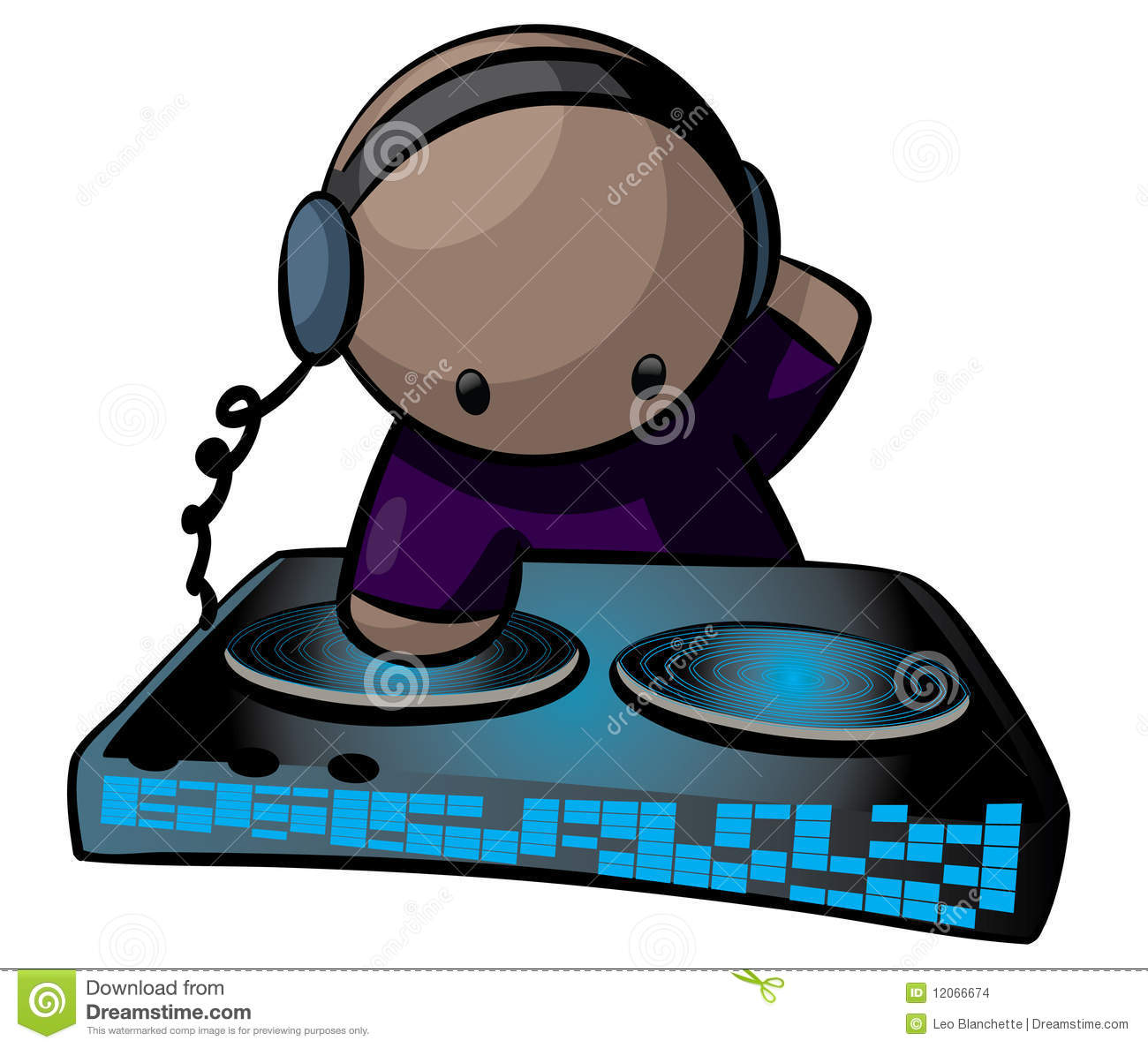 Stylistic cartoon of a disc jockey wearing earphones and working a ...