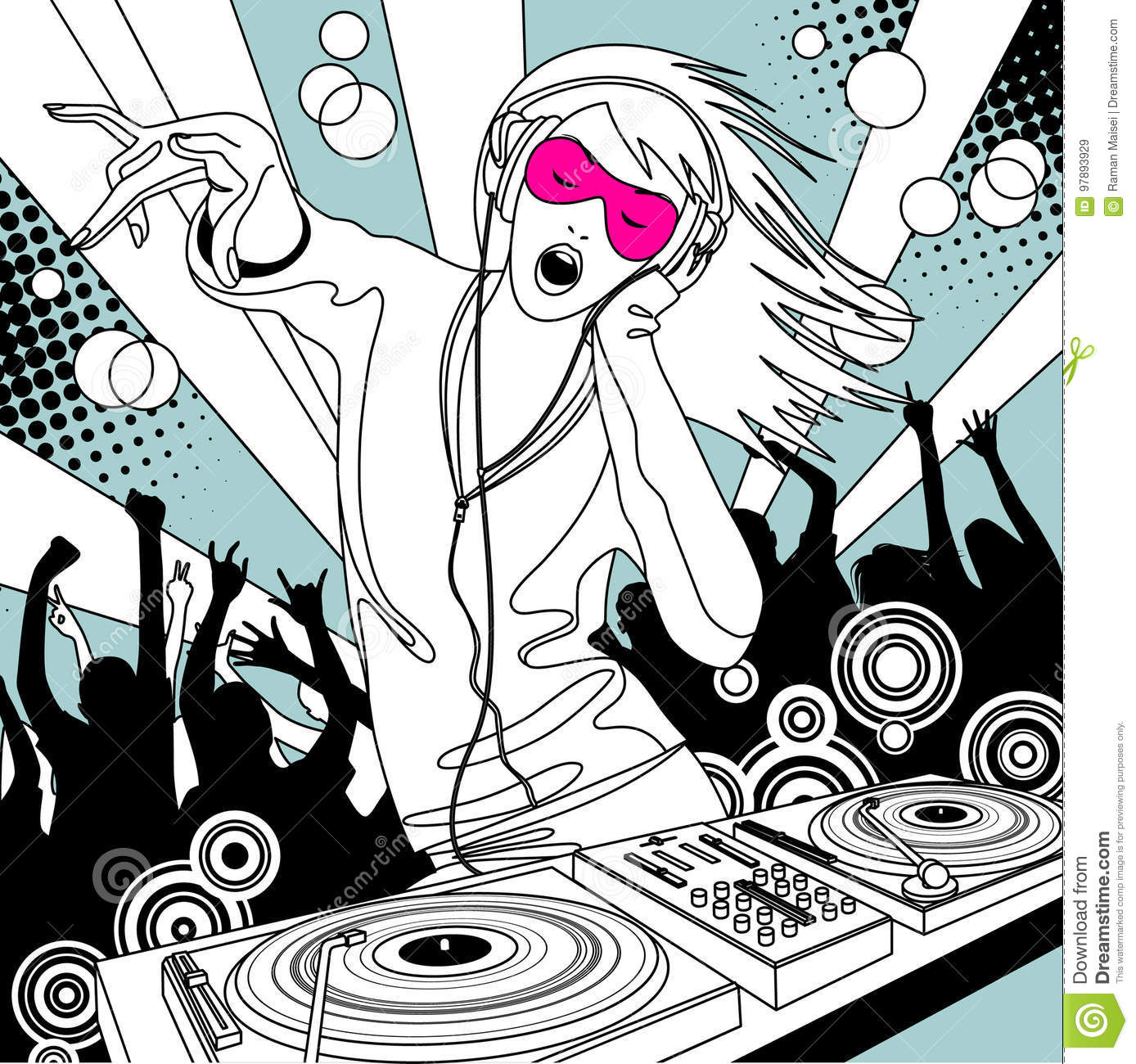 Disc Jockey Girl With A Dj Mixer And People Dancing At A Party Stock