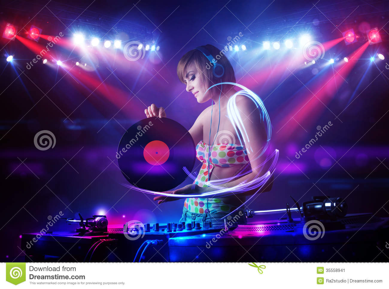 disc jockey girl playing music with light beam effects on stage stock illustration image 35558941. Black Bedroom Furniture Sets. Home Design Ideas