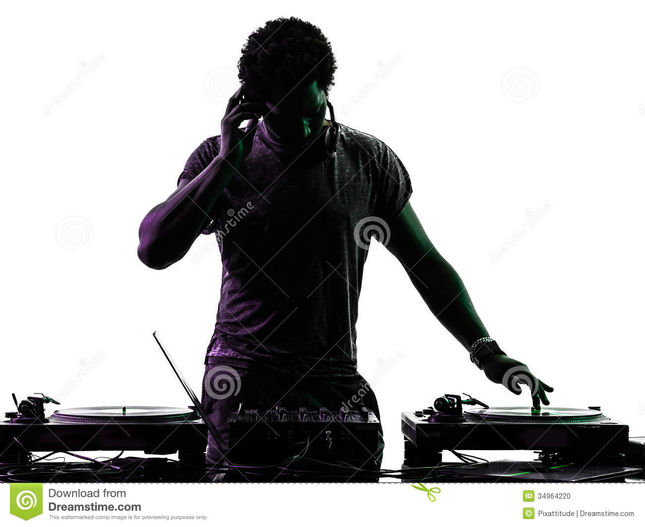 Disc Jockey Man Silhouette Stock Photo Image Of