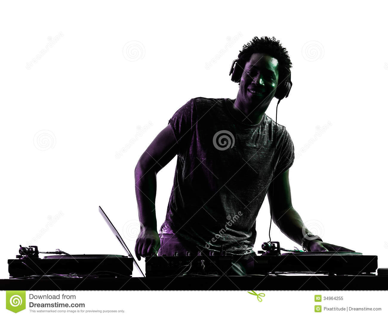 Disc Jockey Man Silhouette Stock Image Image Of Disc