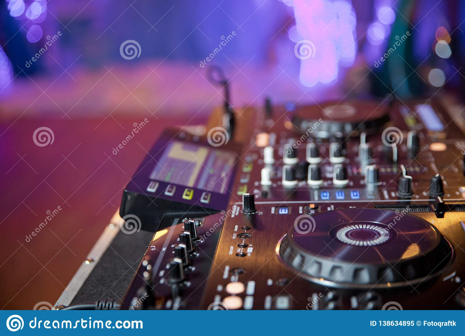 Disc Jockey Mix Music On Digital Midi Turntable Controller