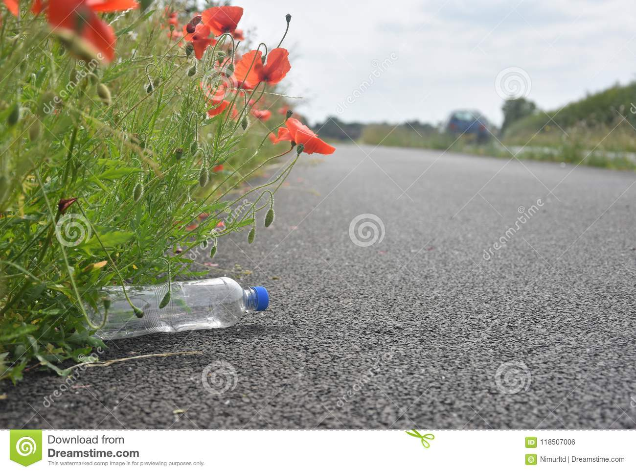 Discarded plastic bottle lying at path side amongst poppy flower discarded plastic bottle lying at path side amongst poppy flower mightylinksfo
