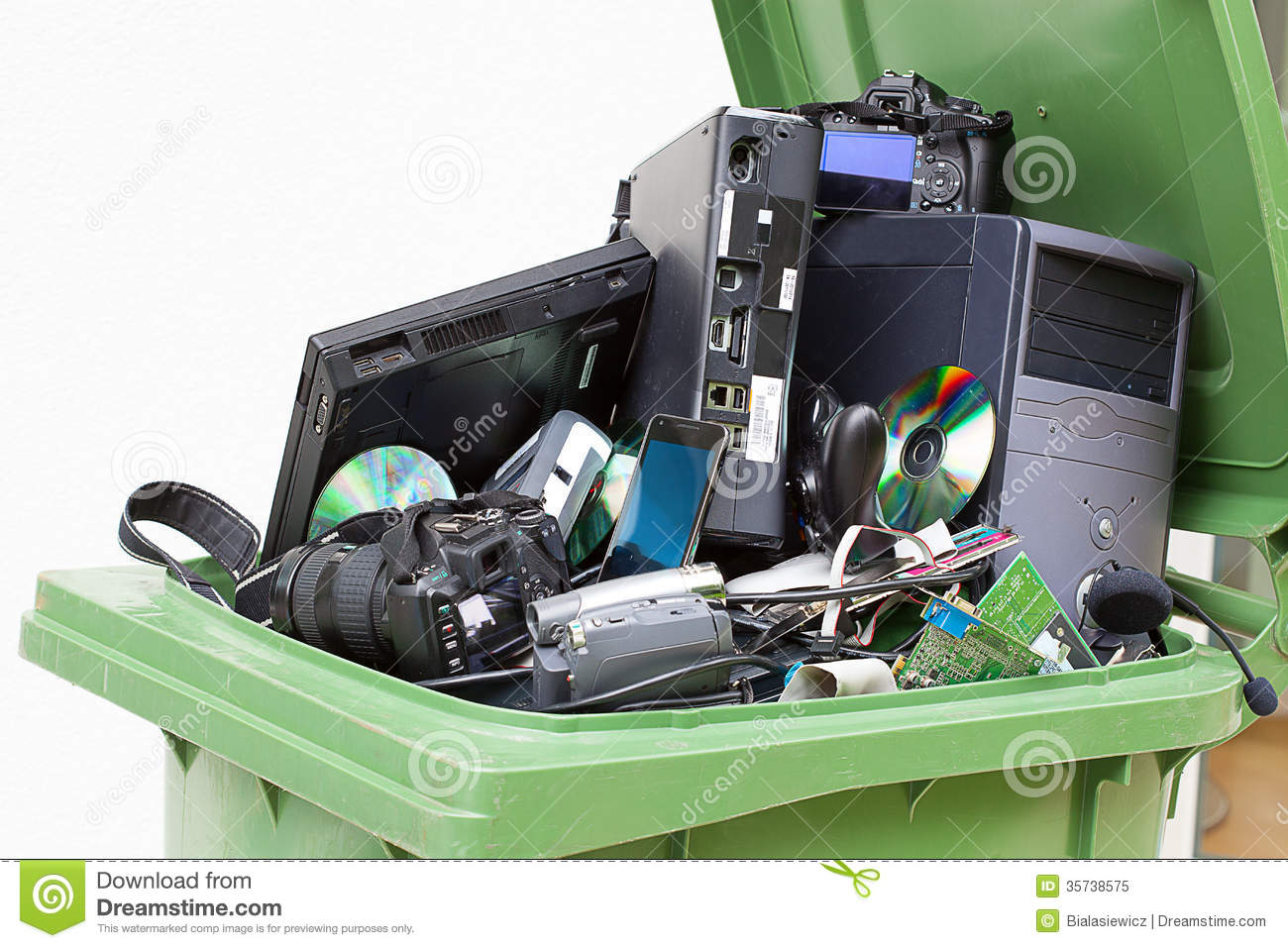 Discarded used and old computer hardware royalty free stock photo