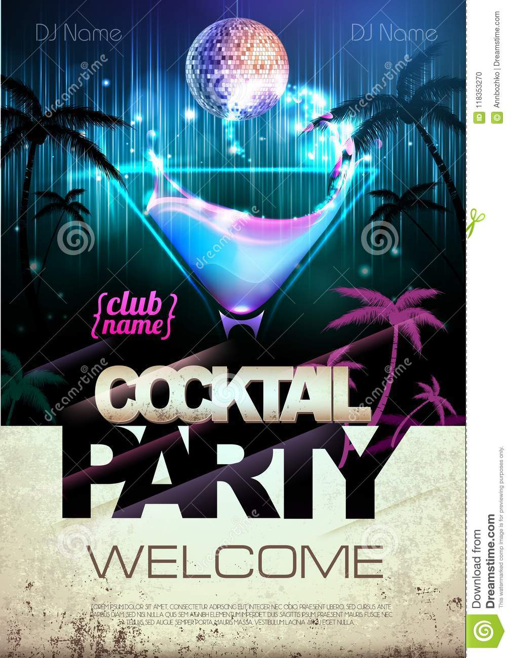 Disco Background  Cocktail Party Poster Stock Vector