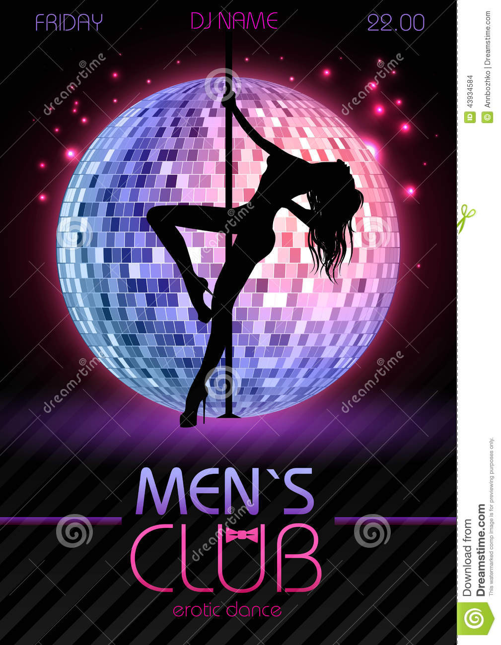 Pole Dance Party Design With Fashion Girl Vector