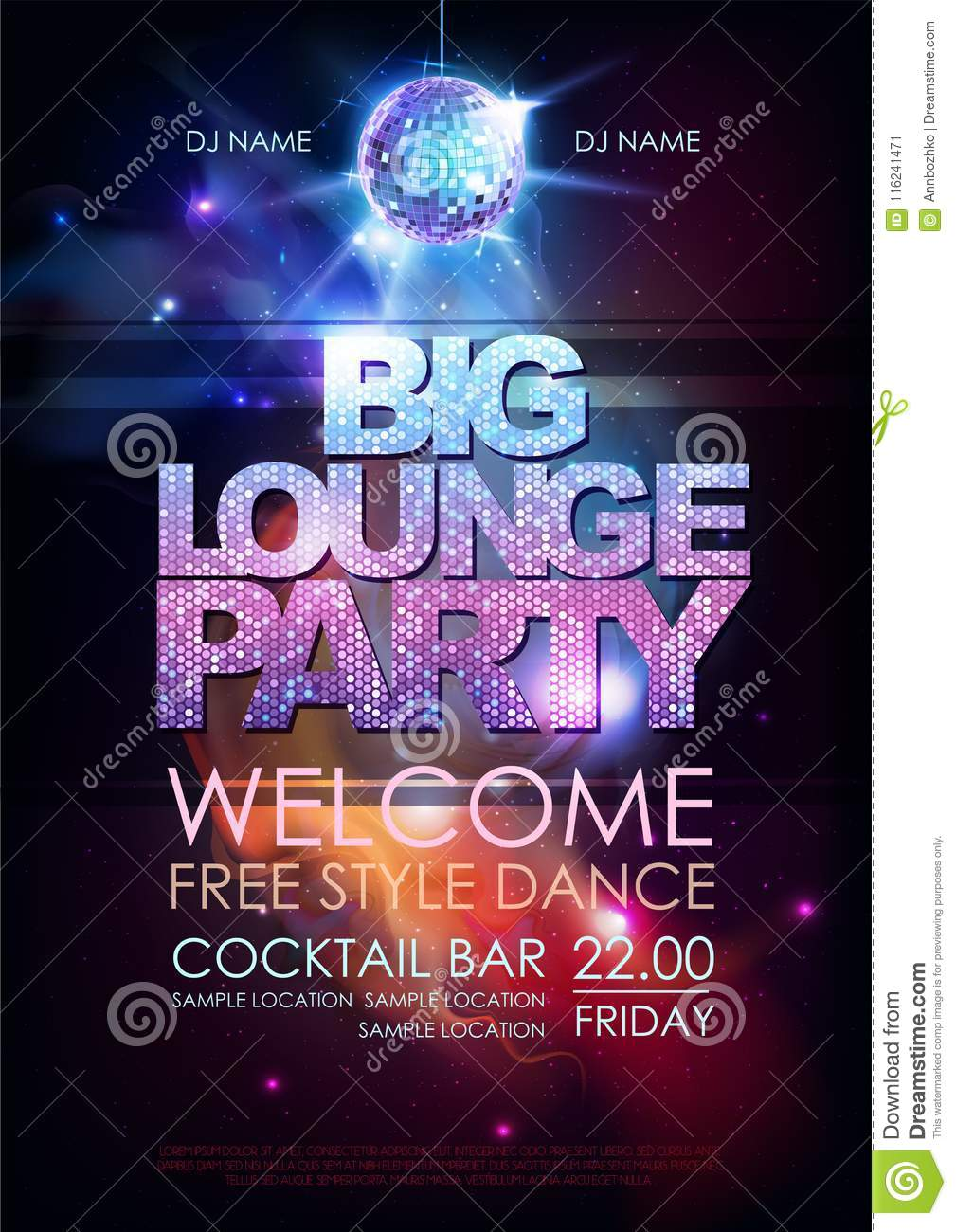 Disco Ball Background  Disco Big Lounge Party Poster On Open