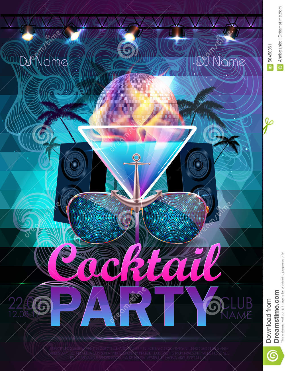 disco ball background disco cocktail party poster on triangle b stock vector image 58458361. Black Bedroom Furniture Sets. Home Design Ideas