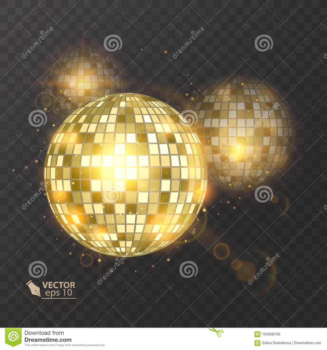 Disco ball on background. Night Club party light element. Bright mirror ball design for disco dance club