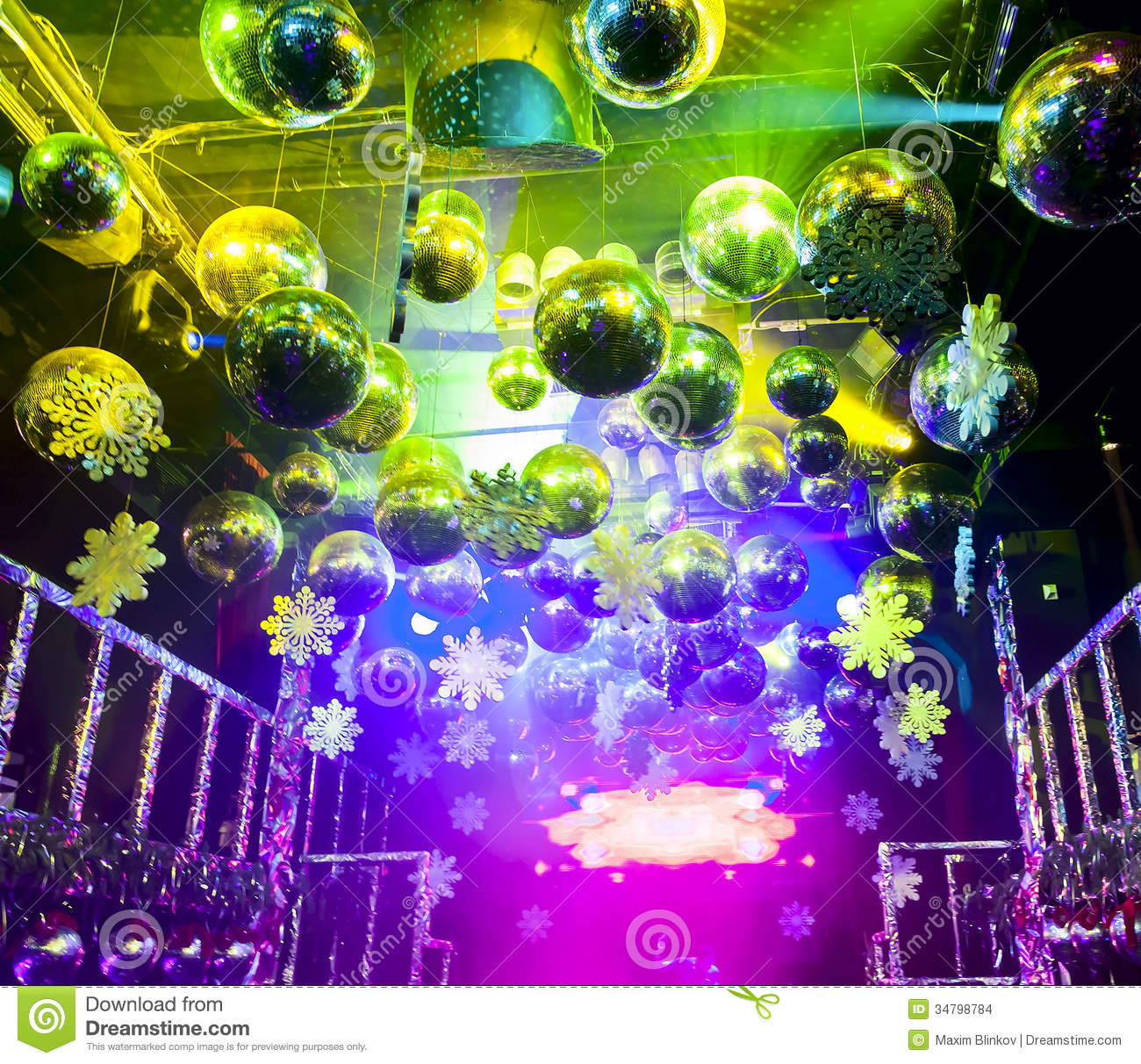 Disco Ball In Christmas At Nightclub Stock Images Image