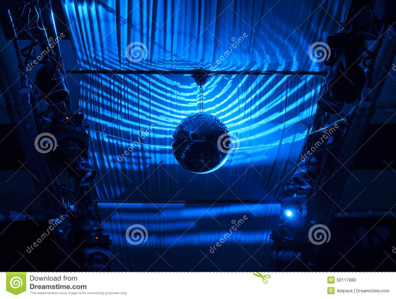 Disco Ball Hanging At Ceiling With Blue Lights Stock Photo